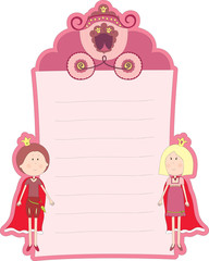 Blank pink card with princess and prince