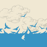 Blue birds flying over sky vector illustration