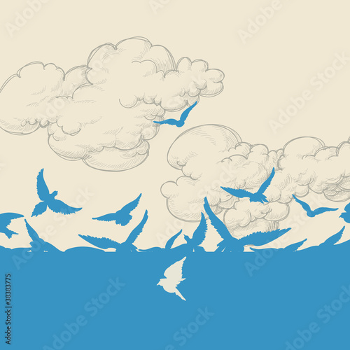 Blue birds flying over sky vector illustration - 38383775