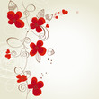 Red flowers vector ornament