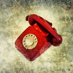 grunge red phone