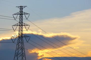 High voltage power pole.