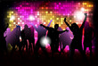 Party people background - vector dancing young people