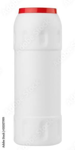 White plastic detergent bottle isolated on white