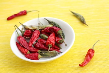 Dried red and green chilies