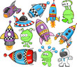 Cute Outer Space Vector Design Elements Set - 38390920