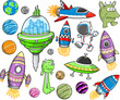 Cute Outer Space Vector Design Elements Set