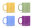 mugs of different colors: yellow, green, blue, purple
