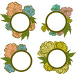 Vector set of vintage frames with colorful flowers