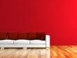 Wohndesign - weisses Sofa mit roten Kissen