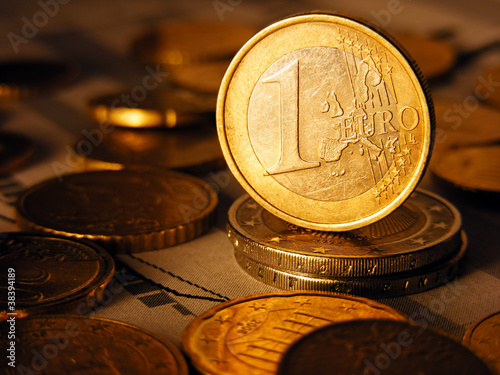 One euro coin. Selective focus.