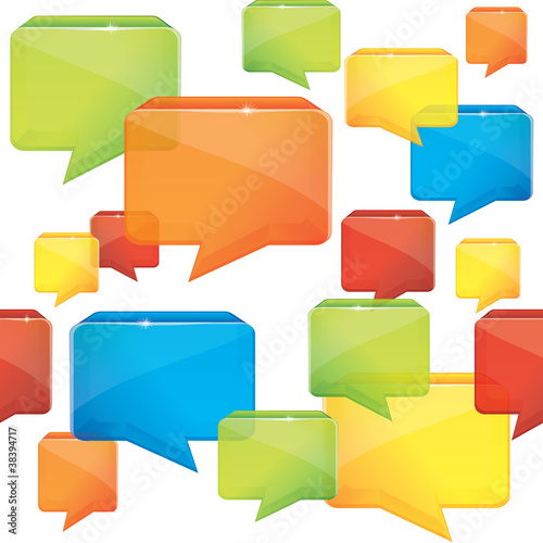 social media seamless background with speech bubbles - vecto
