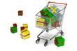 Einkaufswagen mit vielen Geschenken