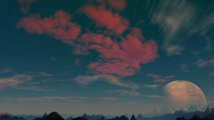 Departing planet against a fantastic landscape