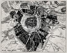 Historische Karte von Wien, Österreich.