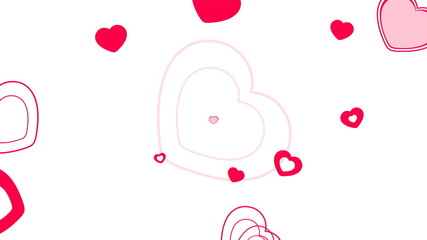 Floating hearts, over white background