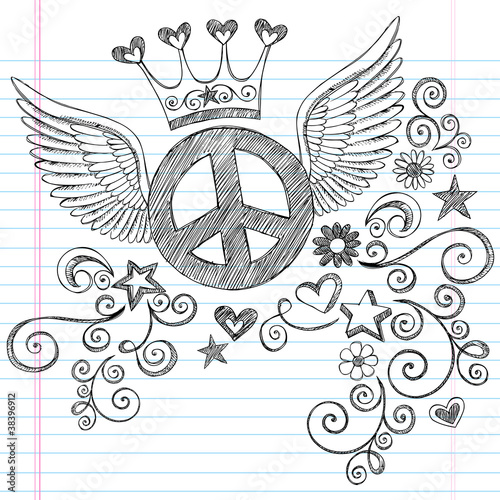 Peace Sign with Wings and Tiara Crown Vector