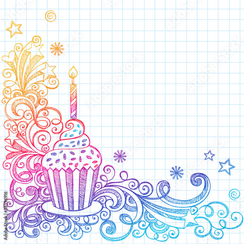 Sketchy Doodle Birthday Cupcake Design