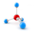 3d illustration of a methane molecule isolated on white