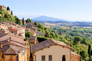 View over the landscape of Tuscany from Montepulciano