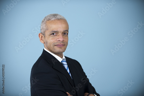 studio portrait of a mature businessman