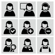 Female user avatars icons set.