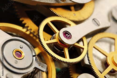 macro of clock mechanism with gears