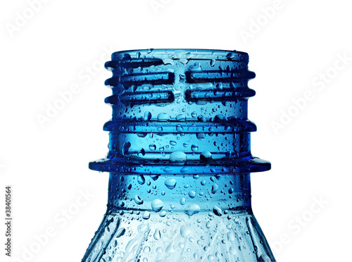 bottle neck with water drops isolated