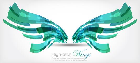 Tech wings. Vector