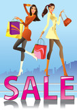 Fashion girls in sale campaign - vector illustration poster