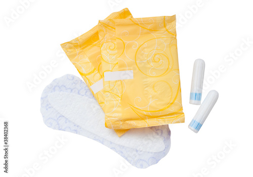 Tampons and napkins isolated on white background