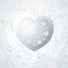 Heart background in silver