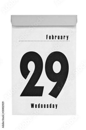 Tear-off calendar shows february the 29th, intercalary year 2012