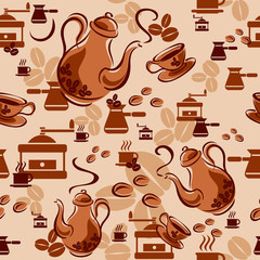 Seamless background with coffee symbols