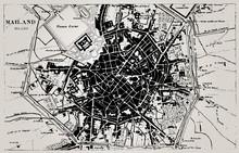 Historische kaart van Milaan, Italië.