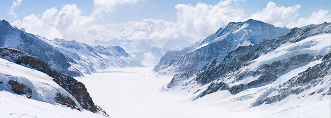 Great Aletsch Glacier Jungfrau Alps Switzerland