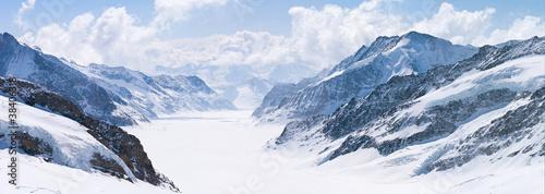 Foto Spatwand Gletsjers Great Aletsch Glacier Jungfrau Alps Switzerland
