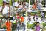 Montage of Young Healthy African American Family Cycling