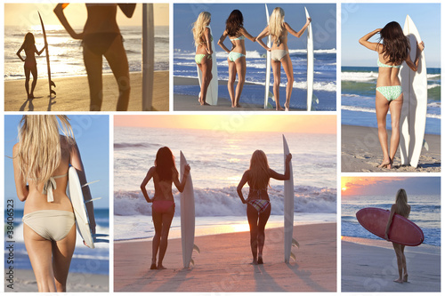 Montage of Beautiful Girls With surfboards on Sunset Beach