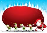 Santa and elves poster