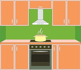 Kitchen furniture. Interior. Vector