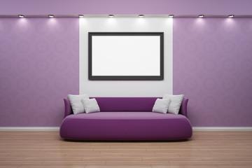 Bilderrahmen mit Sofa, Wand lila