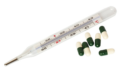 medical thermometer with pills