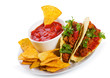 plate with taco, tortilla chips and tomato dip