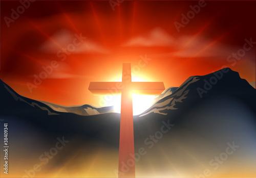 Christian Easter cross concept