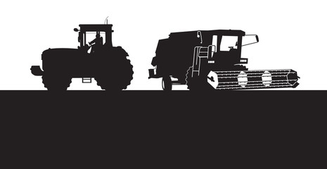 combine and tractor silhouettes