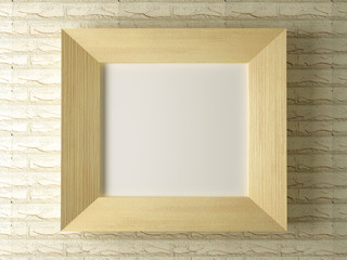 Wooden frame against a backdrop of brick wall
