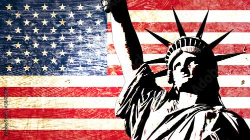 Fototapeta samoprzylepna drapeau usa statue de la liberté