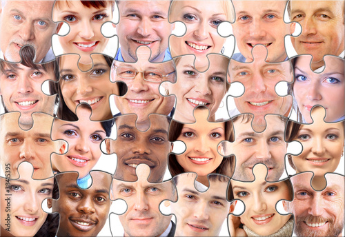 abstract puzzle background with face