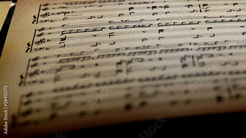 Sheet music, notes, shallow depth of field
